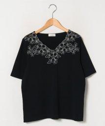GUEST JOCONDE/【大きいサイズ】フラワー刺繍ニットプルオーバー/503181312