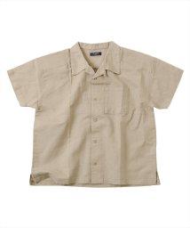GLAZOS/綿麻・オープンカラー半袖シャツ/503187869