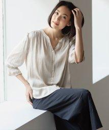 JIYU-KU /【洗える】ギャザーサテンブラウス/503188779