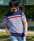 Nylaus/パネル ボーダー柄 クルーネック 半袖 Tシャツ/503189704