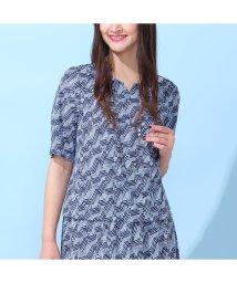 PISANO/スムース幾何プリント・キーネックTシャツ【セットアップ対応】/503189926
