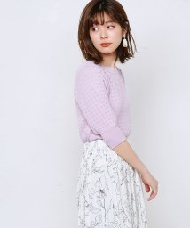 NICE CLAUP OUTLET/【natural couture】強撚ギャザー袖小花透かしニット/503177712