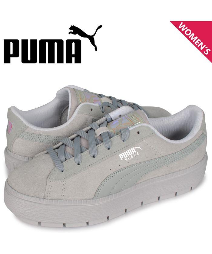 puma suede platform trace white