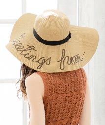 Julia Boutique/メッセージストローハット・帽子 /550135 帽子 レディース つば広 帽子uv 麦わら帽子 ストローハット つば広帽子 つば広ハット ラフィアハット 女優帽/503197616