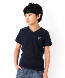 GLAZOS/パイル・ワンポイント刺繍Vネック半袖Tシャツ/503198295
