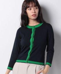 MISS J/【洗える】ハノン 配色ラインカーディガン/503198037