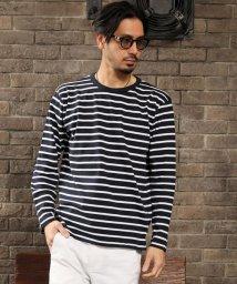 maestoso/綿100%ヘビーウェイトボーダーロングTシャツ/503203010