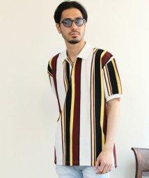 maestoso/オーバーサイズ鹿の子ストライプ半袖ポロシャツ/503203018