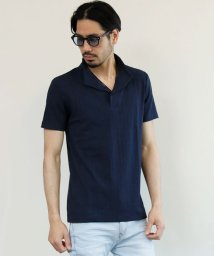 maestoso/衿ワイヤーテレコ素材スキッパー半袖ポロシャツ/503203020