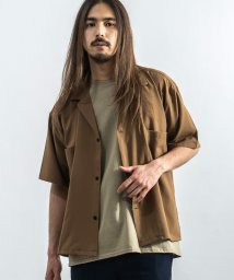 Rocky Monroe/カジュアルシャツ メンズ 半袖 ビッグシルエット シャツジャケット ワーク ライトアウター オープンカラー 開襟 羽織り 無地 ゆったり ストリート おしゃれ /503203005