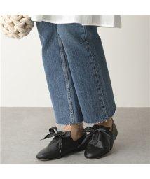 CORSO ROMA 9/【CORSO ROMA(コルソローマ)】021 W レザー フラットパンプス リボン 靴 NERO レディース    /503196204