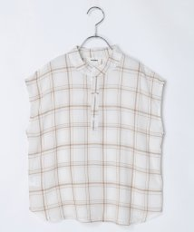 riziere/ベーシックチェックバンドカラーノースリーブシャツ/503203569