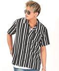 LUXSTYLE/ストライプ半袖オープンカラーシャツ/シャツ メンズ 半袖 無地 オープンカラー ストライプ/503203771