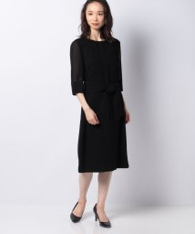 pierre cardin/カラミ織り ベルテッドワンピース/503132932