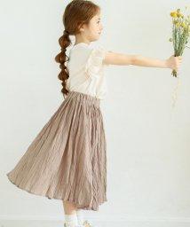 pairmanon/【ママとおそろい】シワ加工 コットン ボイル ボリューム ギャザー ロング スカート/503194407