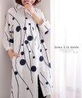 Sawa a la mode/レトロな丸模様刺繍のシャツワンピース/503216672
