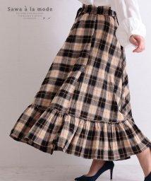 Sawa a la mode/裾フリルのチェック模様ロングスカート/503216683