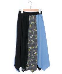 ScoLar/スカラー ScoLar 異素材切替えスカート (ブラック)/503239439