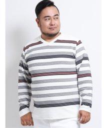 GRAND-BACK/【大きいサイズ】グランバック/GRAND-BACK ストレッチリップルボーダーVネック長袖Tシャツ/503138562