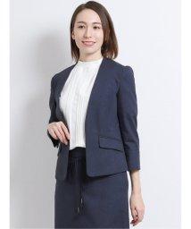 TAKA-Q/高機能リネン混セットアップ Vカラー7分袖ジャケット 紺/503139002