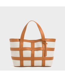 CHARLES & KEITH/【再入荷】ラージケージド キャンバストートバッグ / Large Caged Canvas Tote Bag (Beige)/503215464