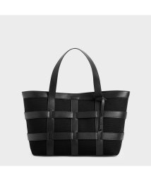 CHARLES & KEITH/ラージケージド キャンバストートバッグ / Large Caged Canvas Tote Bag (Black)/503215465
