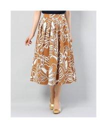 dinos/ディノス dinos グログラン素材 フラワープリント スカート (キャメルXオフホワイト)/503218501