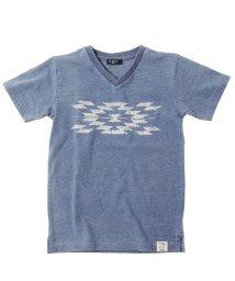 GLAZOS/カットデニム・ネイティブVネック半袖Tシャツ/503245721