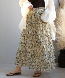 ANDJ/クリンクル花柄シフォンスカート/503245962