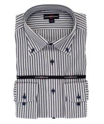 TAKA-Q/形態安定レギュラーフィット カラミ織ボタンダウン長袖ビジネスドレスシャツ/ワイシャツ/503246344
