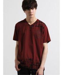 semanticdesign/前身チェック柄プリントVネック半袖Tシャツ/503246423