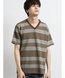 semanticdesign/リップルボーダー Vネック半袖Tシャツ/503246467
