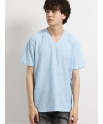 semanticdesign/ストレッチ ななめふくれジャガードVネック半袖Tシャツ/503246468