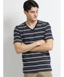 m.f.editorial/リップルボーダー フェイクVネック半袖Tシャツ/503246469