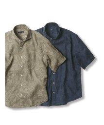 GRAND-BACK/【大きいサイズ】ジーステージ/G-stage リネン混 総刺繍カッタウェイ半袖シャツ/503246543