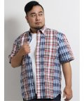 GRAND-BACK/【大きいサイズ】グランバック/GRAND-BACK サッカーチェック ボタンダウン半袖シャツ/503246552