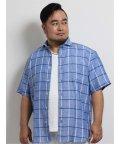 GRAND-BACK/【大きいサイズ】グランバック/GRAND-BACK リネンチェック カッタウェイ半袖シャツ/503246557