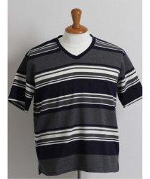 GRAND-BACK/【大きいサイズ】グランバック/GRAND-BACK ボルテックス/VORTEX リップルマルチボーダーVネック半袖Tシャツ/503246586