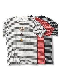 GRAND-BACK/【大きいサイズ】シナコバ/SINA COVA  ハイゲージ天竺ボーダー クルーネック半袖Tシャツ/503246587