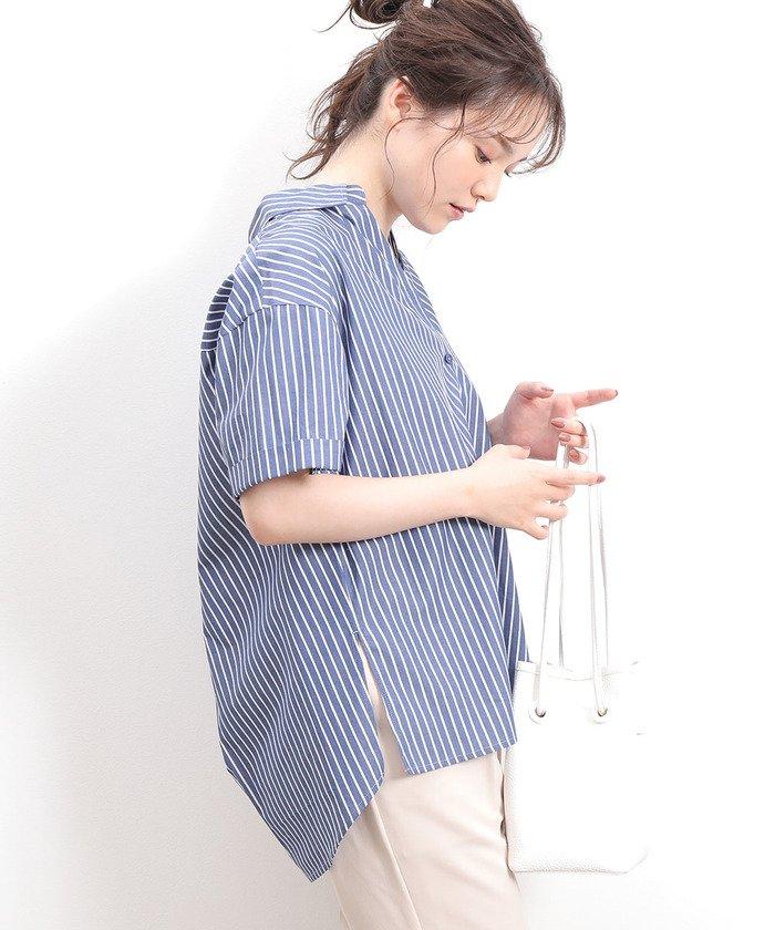 【60%OFF】 ビス ビッグシルエット前開きシャツ レディース ネイビー(40) F 【ViS】 【セール開催中】