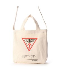 GUESS/ゲス GUESS TRIANGLE LOGO CLEAR-SIDE TOTE BAG (IVORY)/503221291
