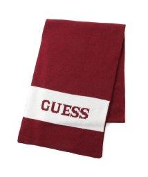 GUESS/ゲス GUESS Logo Border Muffler (BURGUNDY)/503221489