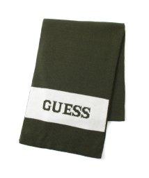 GUESS/ゲス GUESS Logo Border Muffler (GREEN)/503221490