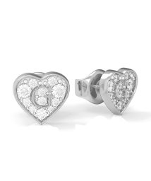 GUESS/ゲス GUESS G SHINE Pave G Heart Crystals Stud Pierce (Silver) (SILVER)/503221567
