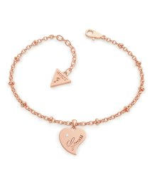 GUESS/ゲス GUESS QUEEN OF HEART Chain Heart Pendant Bracelet (Rose Gold) (ROSE GOLD)/503221585