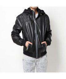 GUESS/ゲス GUESS FAUX-LEATHER SPORT BOMBER JACKET (JET BLACK)/503221626