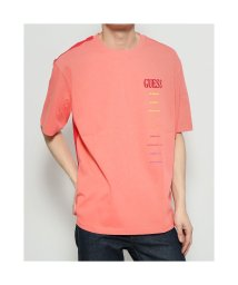 GUESS/ゲス GUESS Rainbow Lettering Logo Tee (CORAL)/503221756