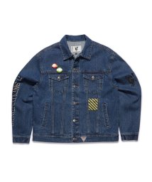 GUESS/ゲス GUESS [GUESS x GENERATIONS] LOGO DENIM JACKET (DARK BLUE DENIM WASH)/503221806
