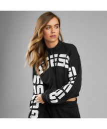 GUESS/ゲス GUESS Amber Curved Logo Half-Zip Pullover Sweat (JET BLACK)/503221845