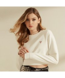 GUESS/ゲス GUESS Cropped Triangle Logo Crew-Neck Sweat (FROSTED WHITE)/503221882